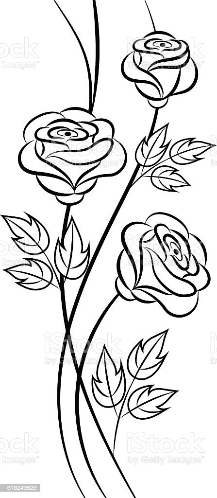 Simple Floral Background In Black And White Royalty Free