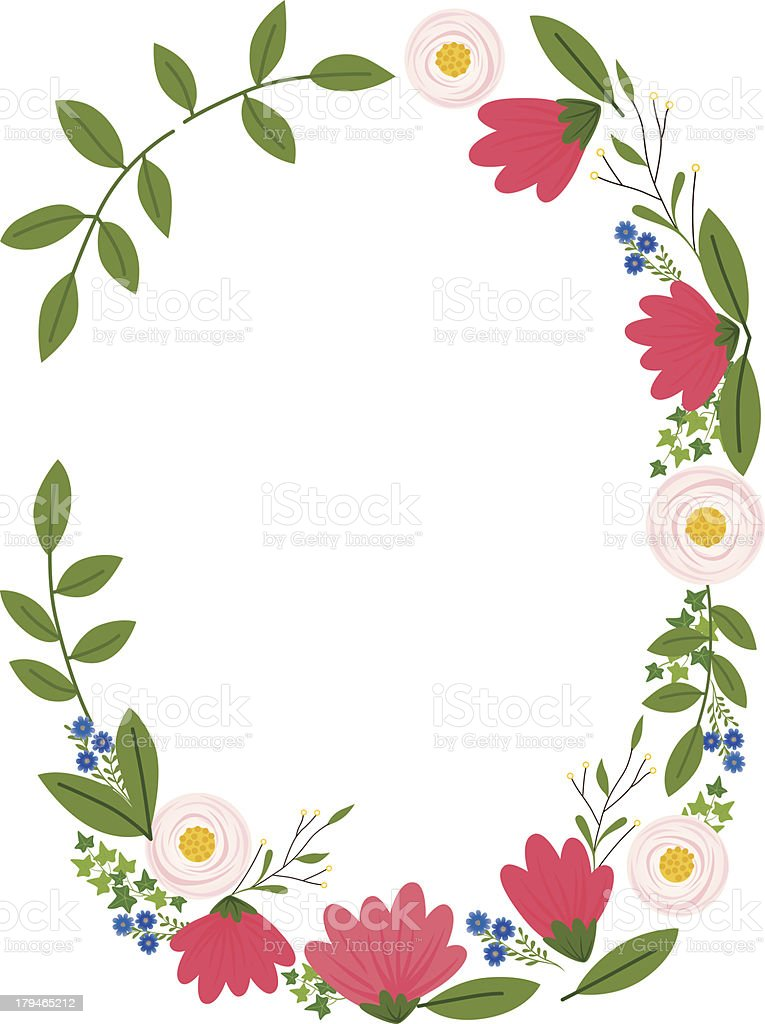 simple floral frame flowers and leaves creating an oval frame, vector illustration, copy space, fresh and simple Backgrounds stock vector