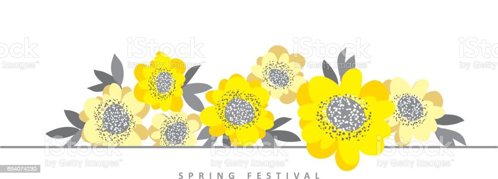 Simple Floral Landscape Composition For Header Card Background