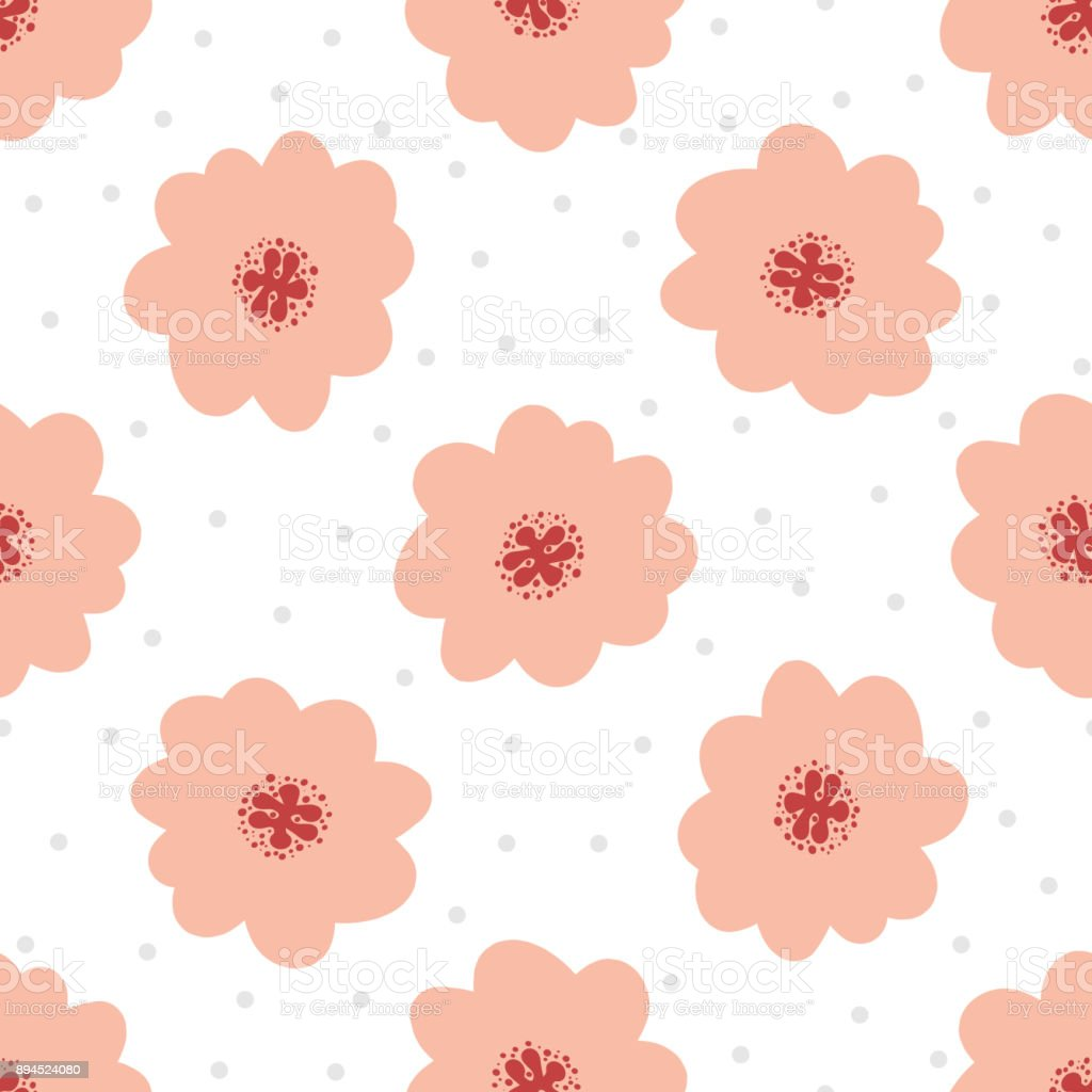 Simple floral seamless pattern cute flowers on background with round dots illustration