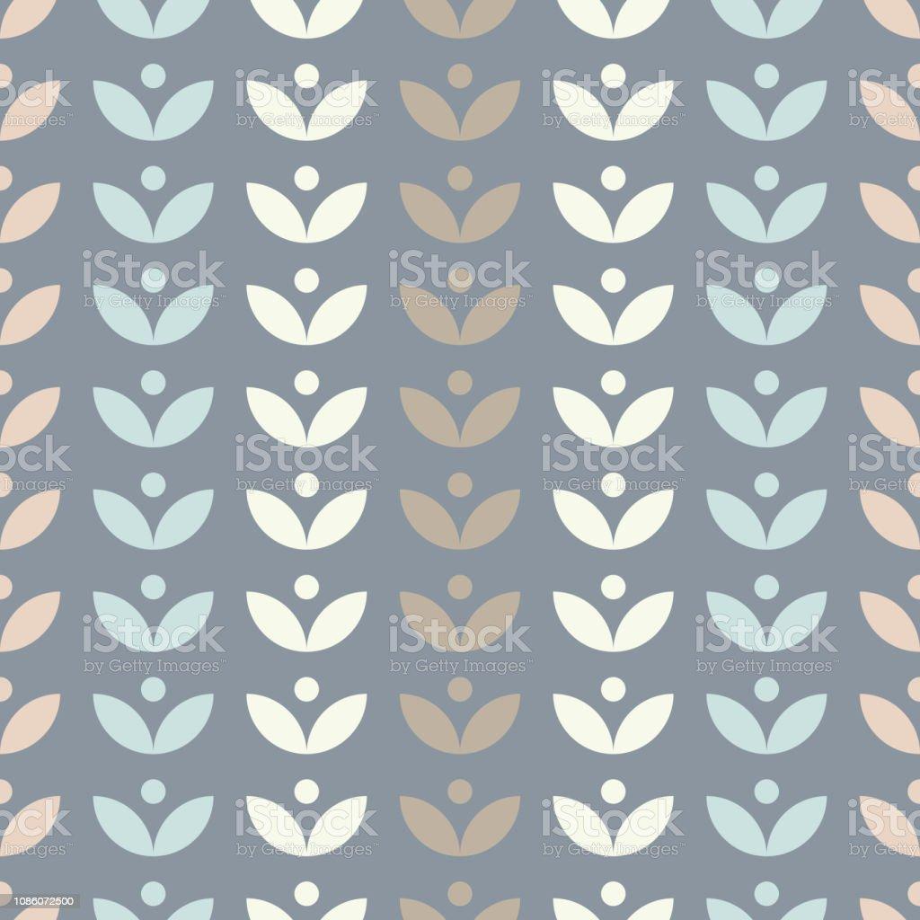 葉で簡単な花柄シームレス パターン北欧スタイルベクトルの壁紙