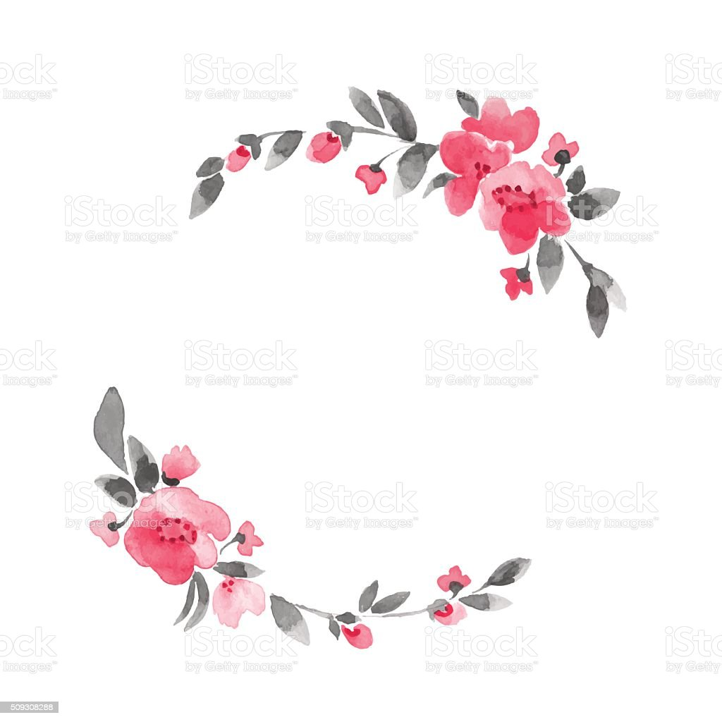 Simple floral wreath. Watercolor flowers 3 in vector vector art illustration