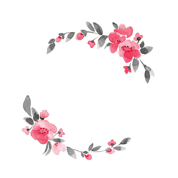 Simple floral wreath. Watercolor flowers 3 in vector watercolor floral illustration shabby chic stock illustrations