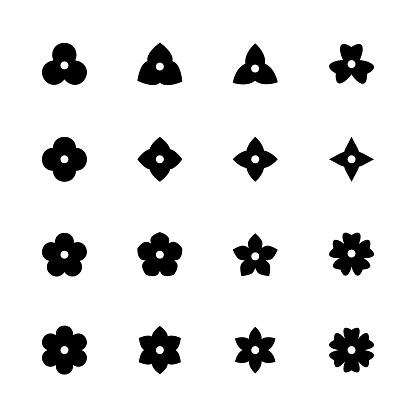 Simple flower icons set. Black floret silhouettes for design.