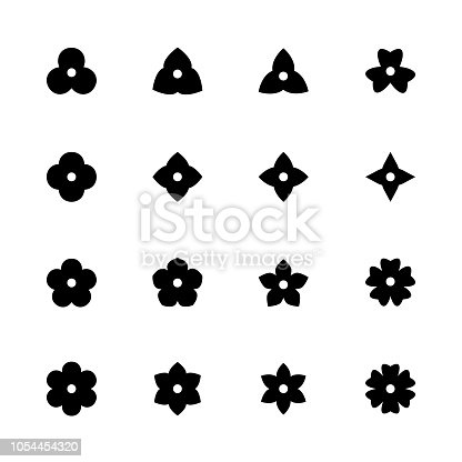 Simple flower icons set. Black floret silhouettes for design