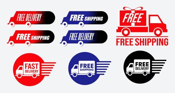 stockillustraties, clipart, cartoons en iconen met eenvoudige gratis verzending of gratis levering-pictogram - scheepvaart