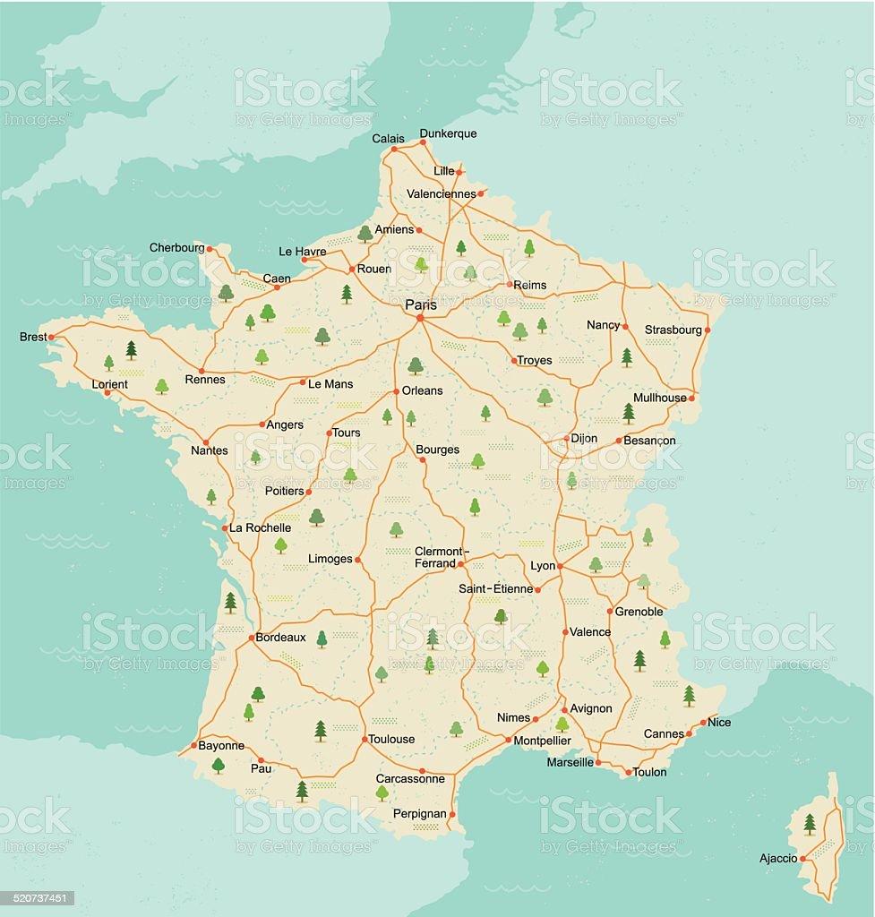 Carte rétro Simple French - Illustration vectorielle