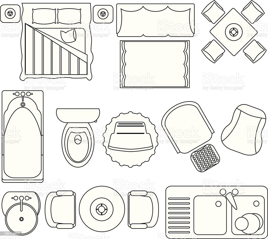 Simple furniture floor plan set2 stock vector art more for Furniture templates for room design