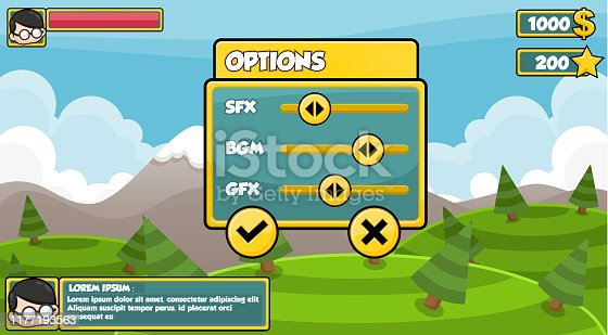 Set of user interface elements with simple theme for creating video games