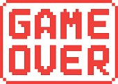 simple game over pixel badge on white background