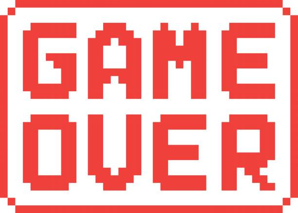 simple game over pixel badge on white background vector art illustration