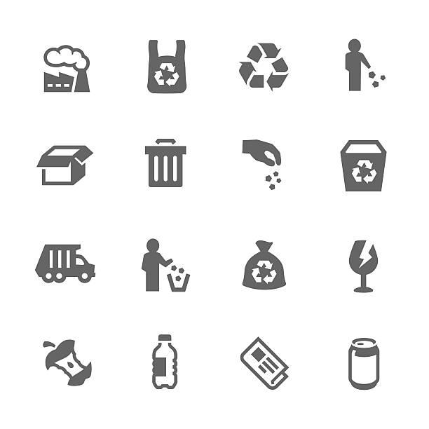 bildbanksillustrationer, clip art samt tecknat material och ikoner med simple garbage icons - food waste