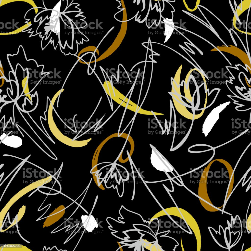 Simple Geometric Floral Background Seamless Pattern With Hand Drawn Flowers Mixed With Memphis Style Background Line Art Contour Drawing Sketch Style Fashion Design For Your Textile And Fabric Stock Illustration Download