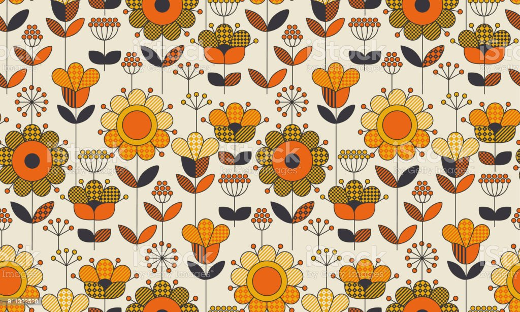 Simple geometric floral seamless pattern. Retro 60s sunflowers motif in fall orange and yellow colors. Decorative flower vector illustration. vector art illustration