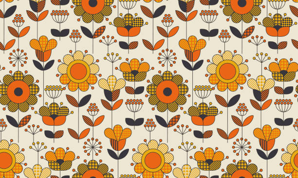 simple geometric floral seamless pattern. retro 60s sunflowers motif in fall orange and yellow colors. decorative flower vector illustration. - 1960s style stock illustrations, clip art, cartoons, & icons
