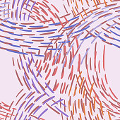 Seamless abstract pattern with colorful lines. Hand drawn dashed lines forming overlapping waves. Stylish texture with stitches. Modern simple geometric background from bold dotted lines for textile, fabric.