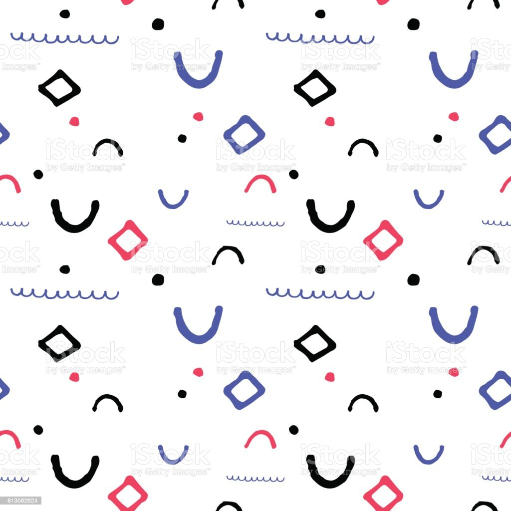 Simple geometric vector seamless pattern in nautical palette. Seamless pattern in nautical colors.