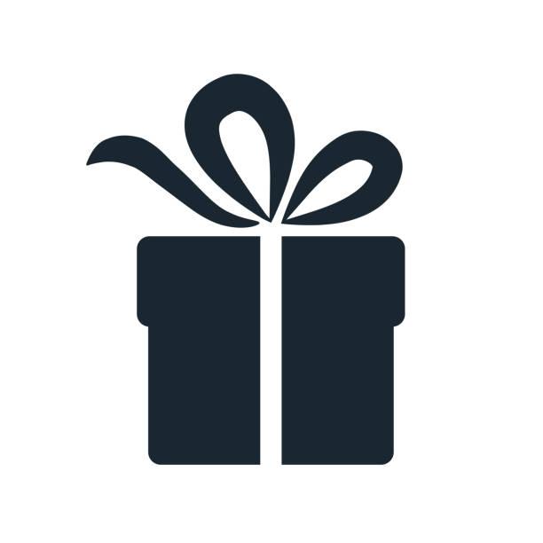 prosta ikona pudełka prezentowego. pojedynczy element projektu izolowanego na białym. dawanie prezentów i przyjmowanie, wakacje, urodziny, koncepcja świętowania. - gift stock illustrations