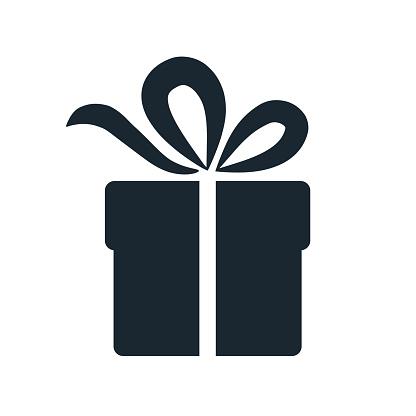 Simple Gift Box Icon Single Color Design Element Isolated On White Gift Giving And Receiving Holiday Birthday Celebration Concept - Stockowe grafiki wektorowe i więcej obrazów Boże Narodzenie