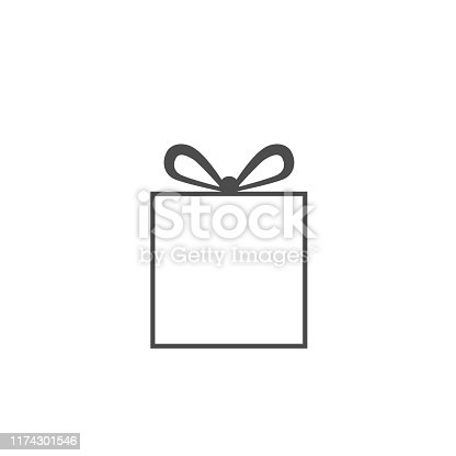 Simple gift box icon isolated. New Year and Christmas symbol
