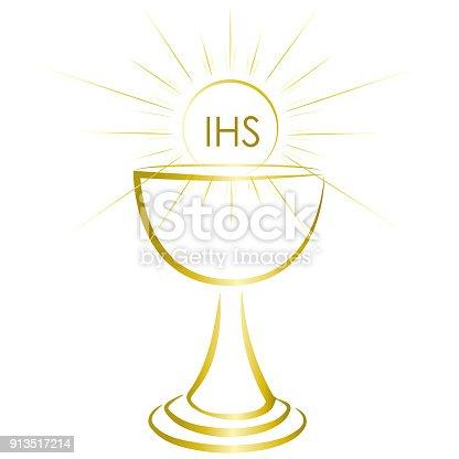 Simple Gold Chalice Holy Communion Sacrament Symbol Stock