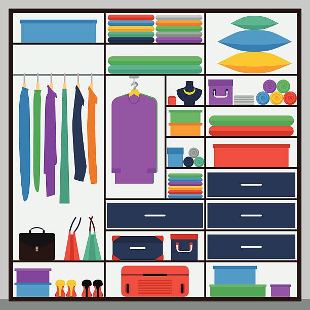 ilustrações de stock, clip art, desenhos animados e ícones de gráfico simples ilustração em estilo moderno apartamento com guarda-roupa deslizar-porta - box separate life