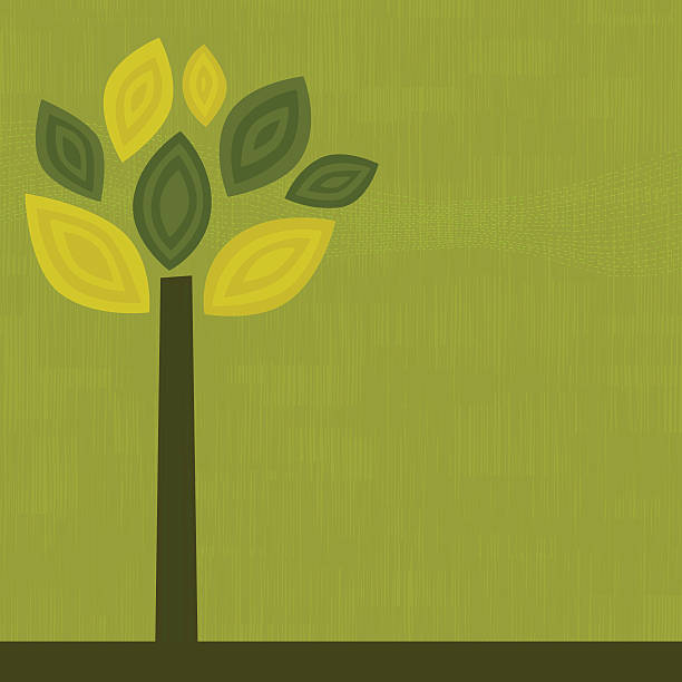 Simple graphic of a green tree on a green background vector art illustration