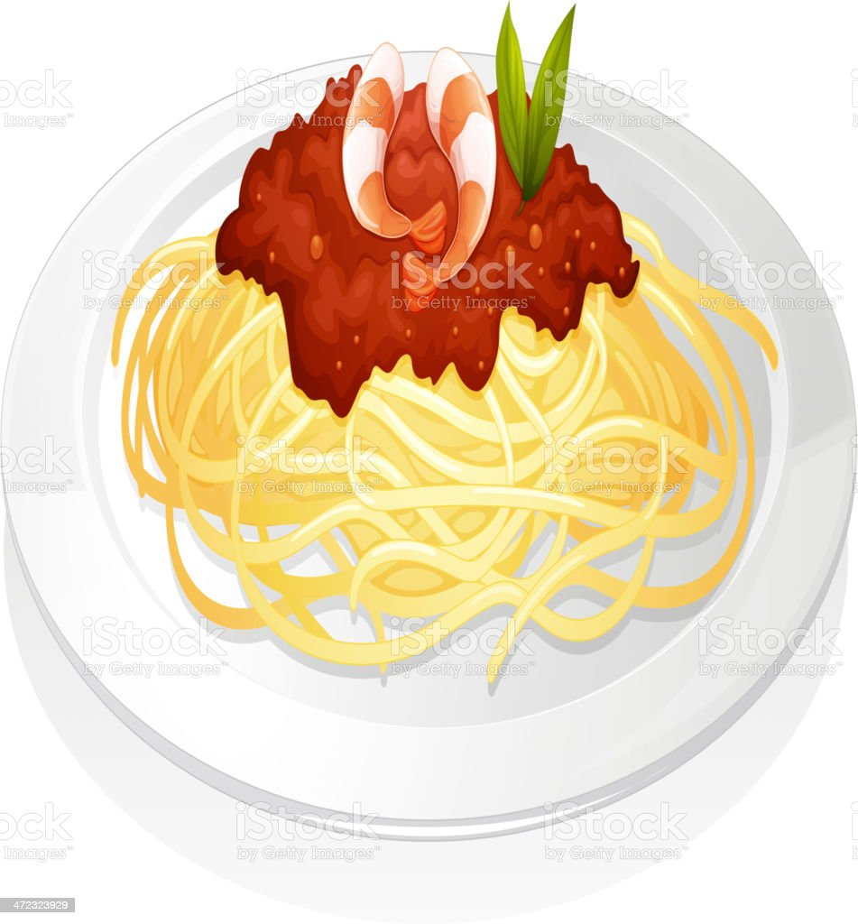 Simple graphic of spaghetti and sauce, topped with prawns vector art illustration