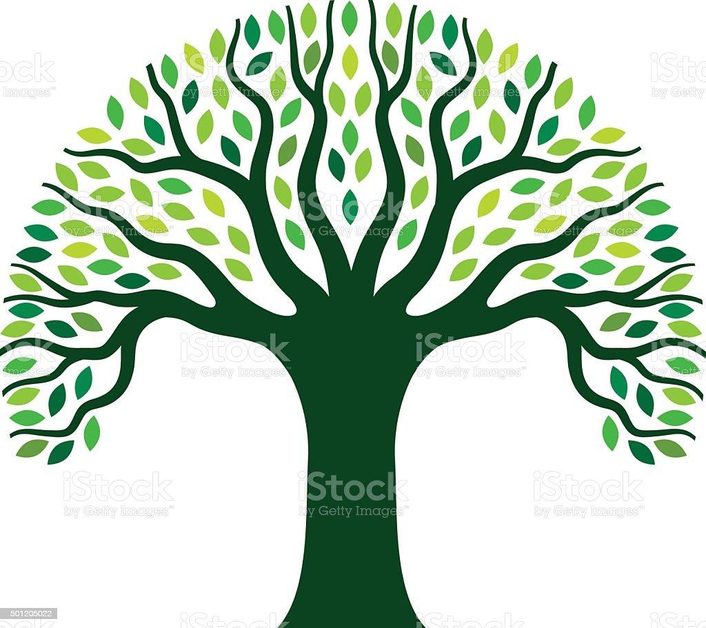 Simple graphic tree illustration vector art illustration