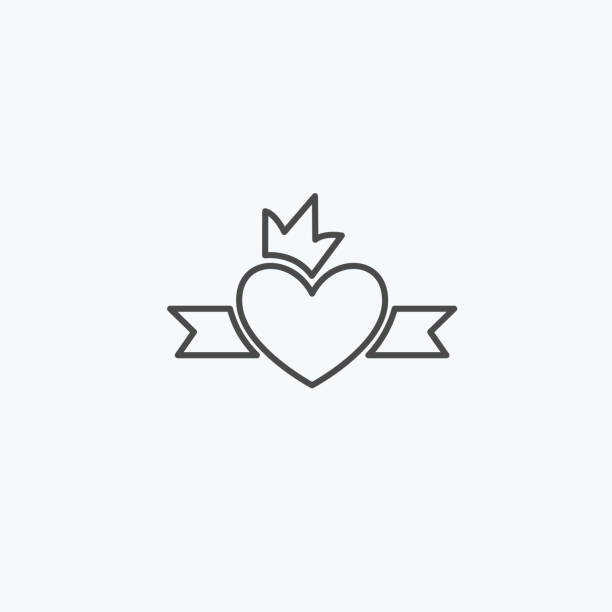simple graphical heart icon with crown template for your design and