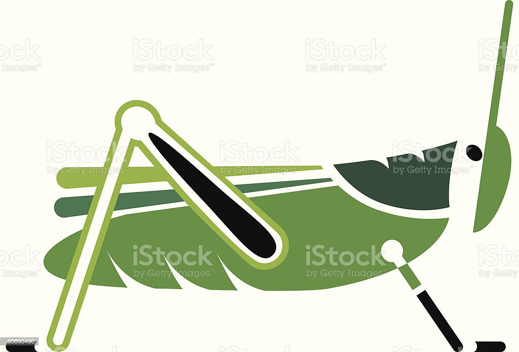 Simple Grasshopper vector art illustration