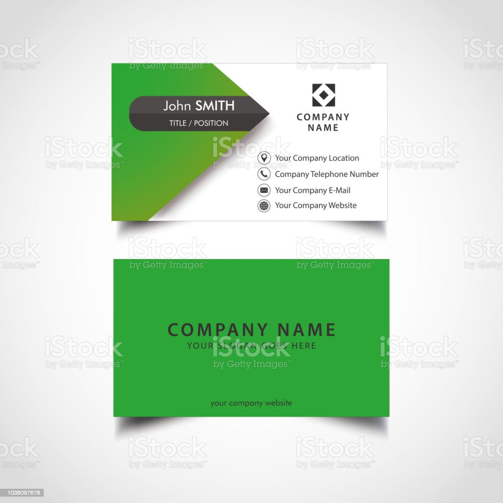 Simple Green And White Business Card Template Vector Stock Vector