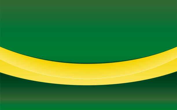 Simple green background with yellow ribbon vector art illustration