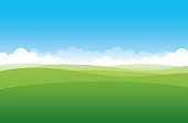 Simplified green hill on a blue sky background