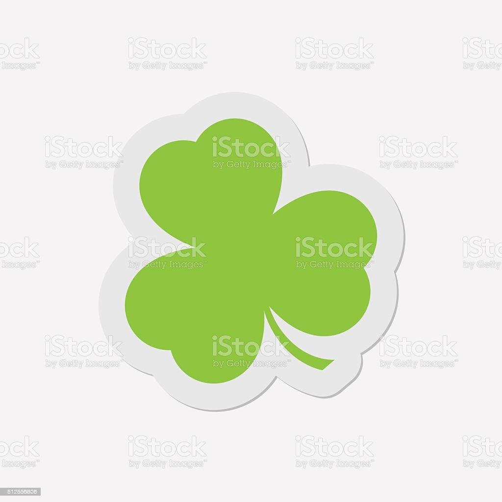 simple green icon - shamrock vector art illustration