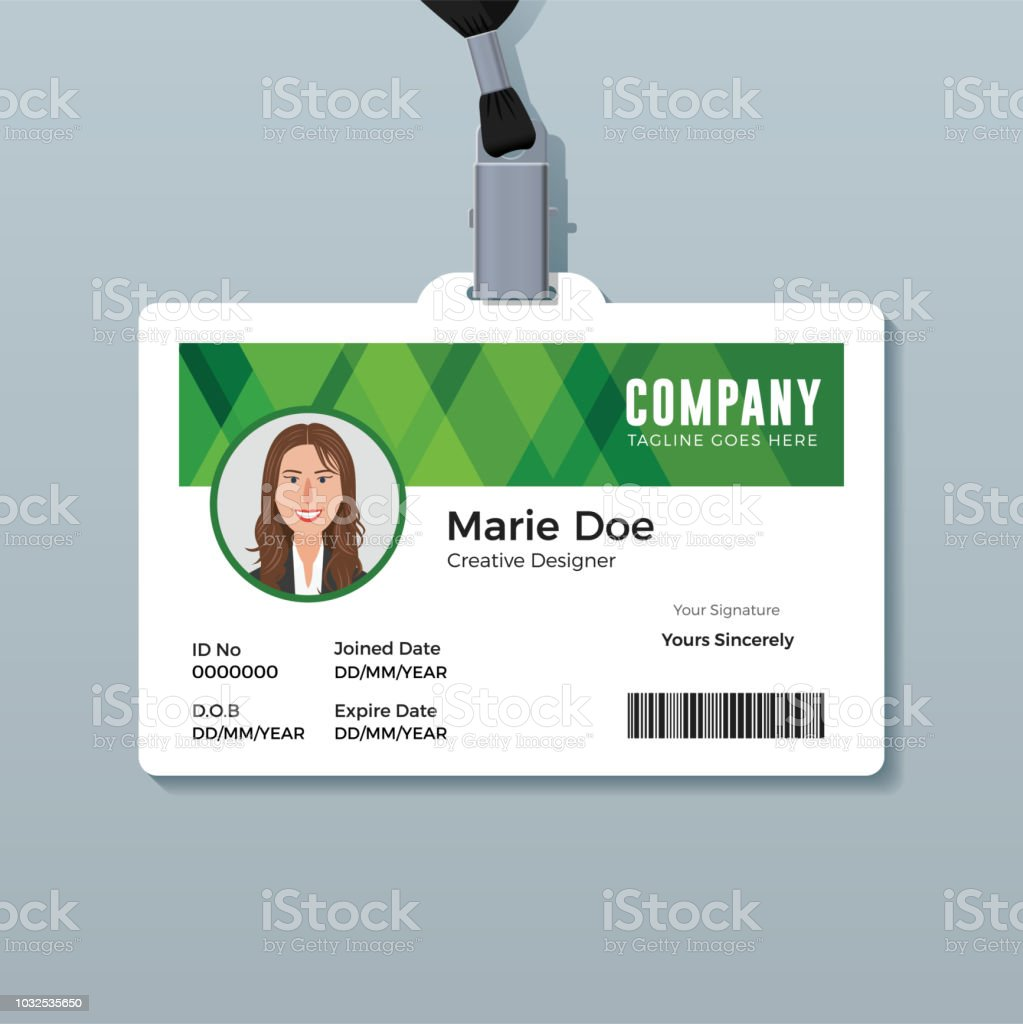 simple green identity card template stock vector art more images