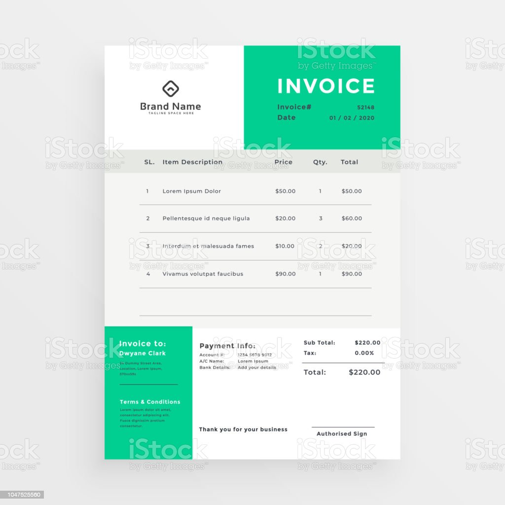 Simple Green Invoice Template Design Stock Vector Art More Images