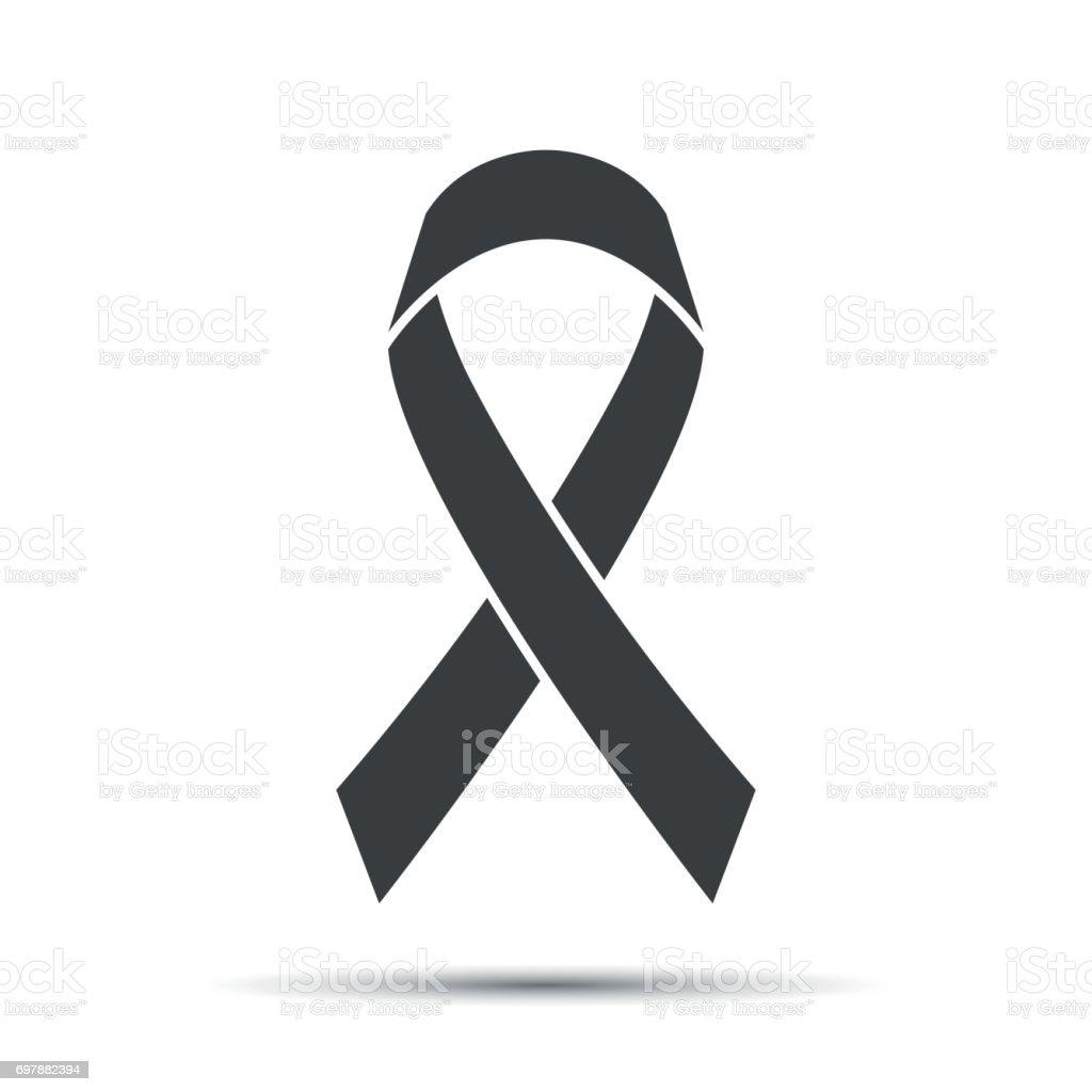 Simple grey ribbon icon, vector illustration vector art illustration