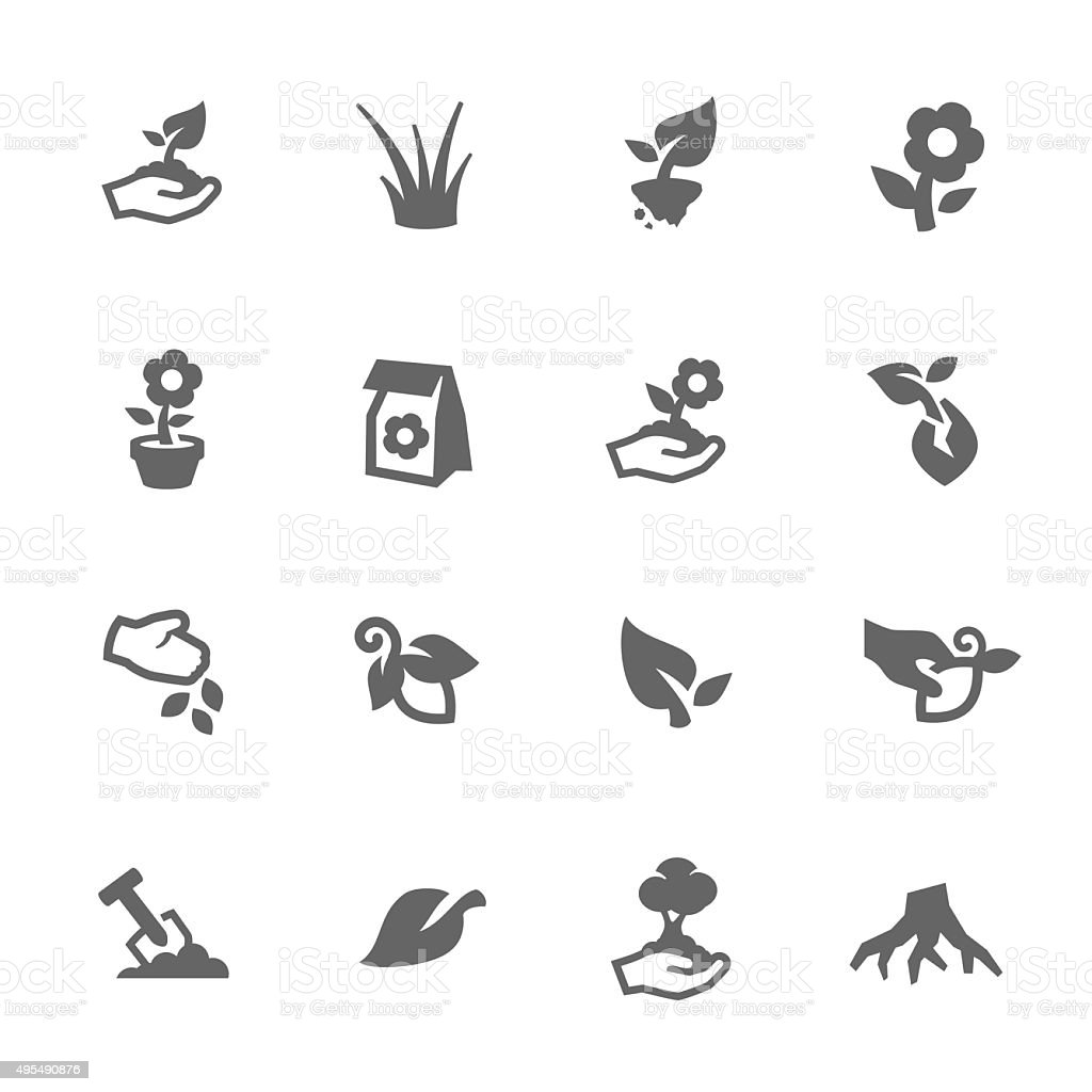 Simple Growing Plants Icons vector art illustration