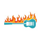 Simplistic Flaming BBQ Guitar Icon on a white background. The icon is color with flat colrs so it's easy to make changes. Symbolizes a BBQ with live music.