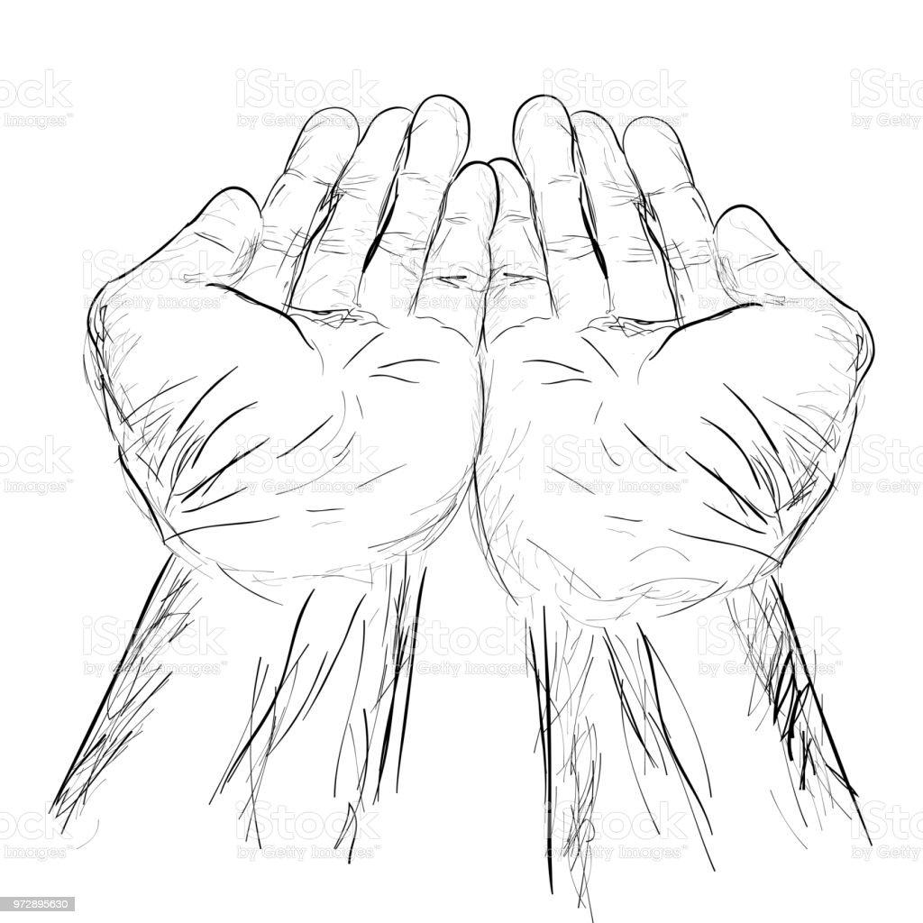 Einfache Hand Zeichnen Skizze Zu Beten Bitten Betteln Empfangen Von ...