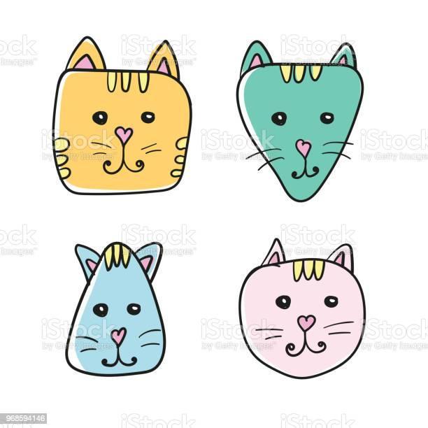 Simple hand drawn cartoon cat face icon four color variations on vector id968594146?b=1&k=6&m=968594146&s=612x612&h=4wqwha52xsut5vuue9c9b15kejvu8 zb3pxune4da8q=