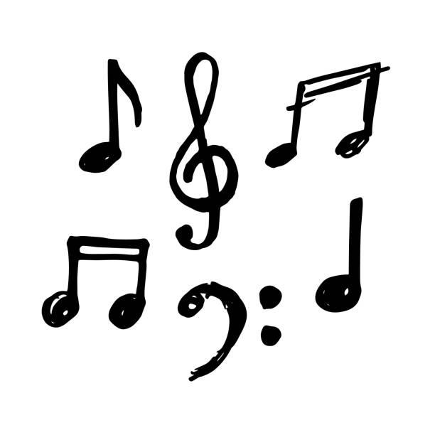 proste ręcznie rysowane nuty i muzyczny klef w stylu doodle. - muzyka stock illustrations