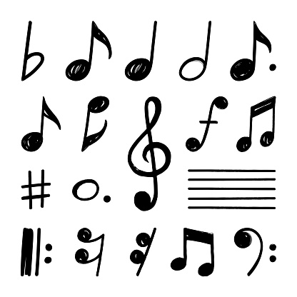 Simple hand drawn notes and musical clef in doodle style