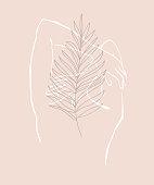 Simple hand drawn trendy line silhouette woman. Modern minimalism art, aesthetic contour. Abstract women's silhouette, minimalist style. Scandinavian print
