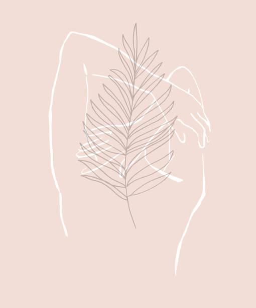 stockillustraties, clipart, cartoons en iconen met eenvoudige hand getekend trendy lijn silhouet vrouw. modern minimalisme kunst, esthetische contour. abstracte vrouwen silhouet, minimalistische stijl. scandinavische print - alleen één vrouw