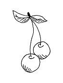 istock Simple hand-drawn vector drawing in black outline. Two cherries on a twig with leaves isolated on a white background. For labels, garden berries, juice, ingredient, dessert. Children's coloring. 1306240257