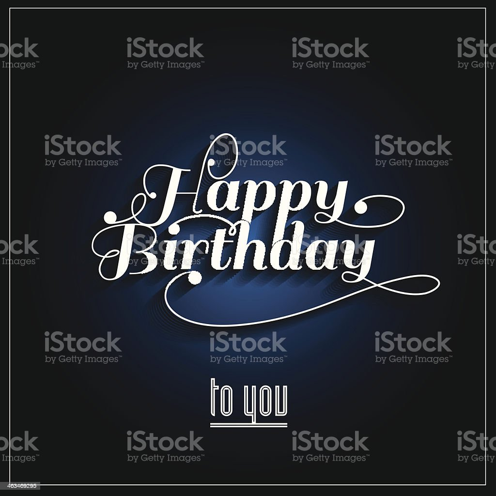 Simple happy birthday design with a dark blue background vector art illustration