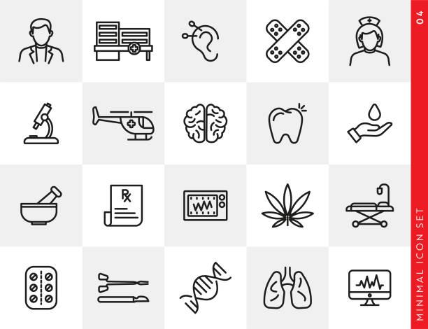 bildbanksillustrationer, clip art samt tecknat material och ikoner med enkel sjukvård och medicin line ikon uppsättning - acupuncture