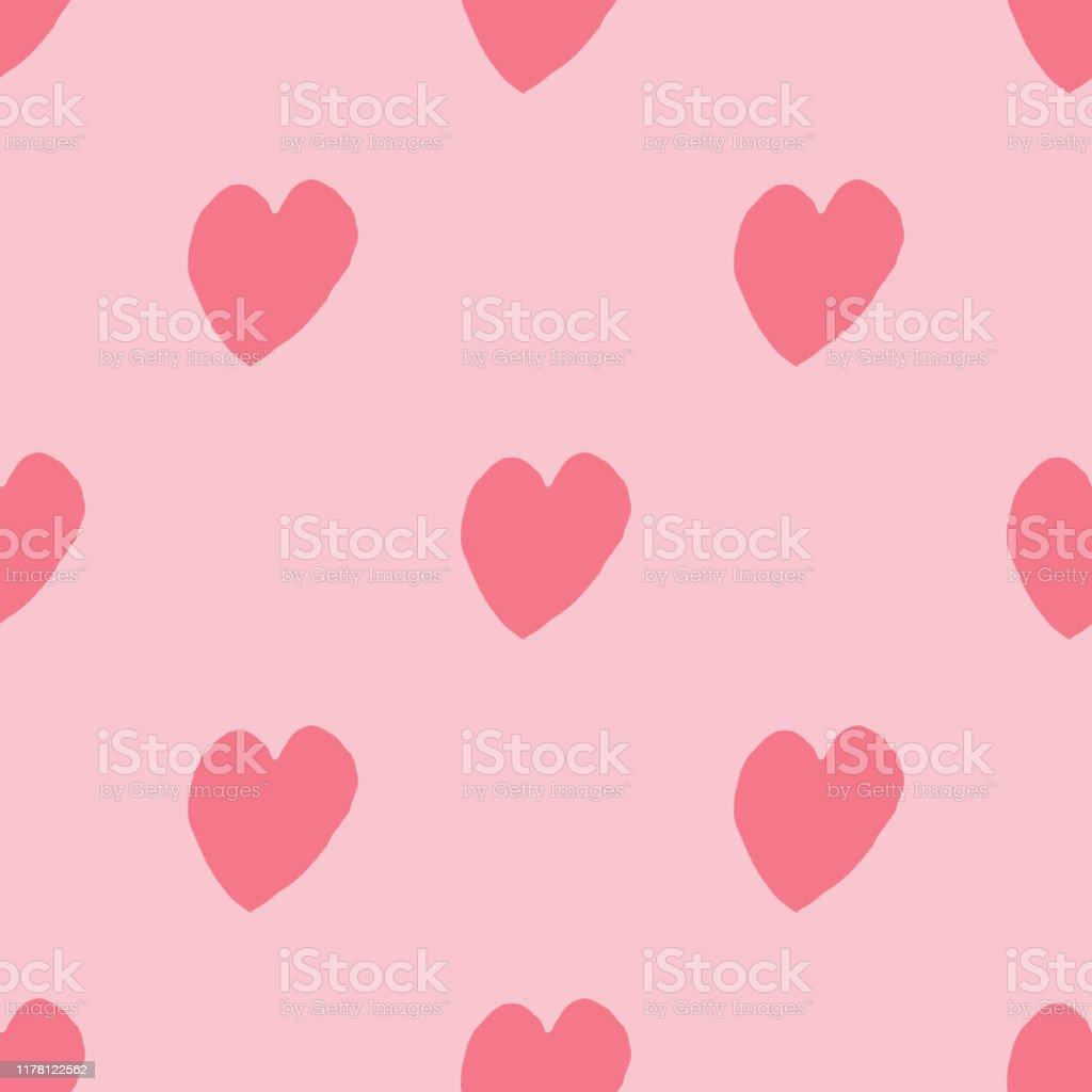 ピンクの背景にシンプルなハートシームレスなパターン14 2月の壁紙